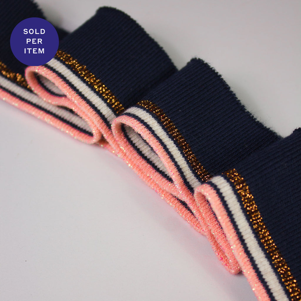 Joey Black, Pink & Gold Organic Cotton Rib Knit Cuff
