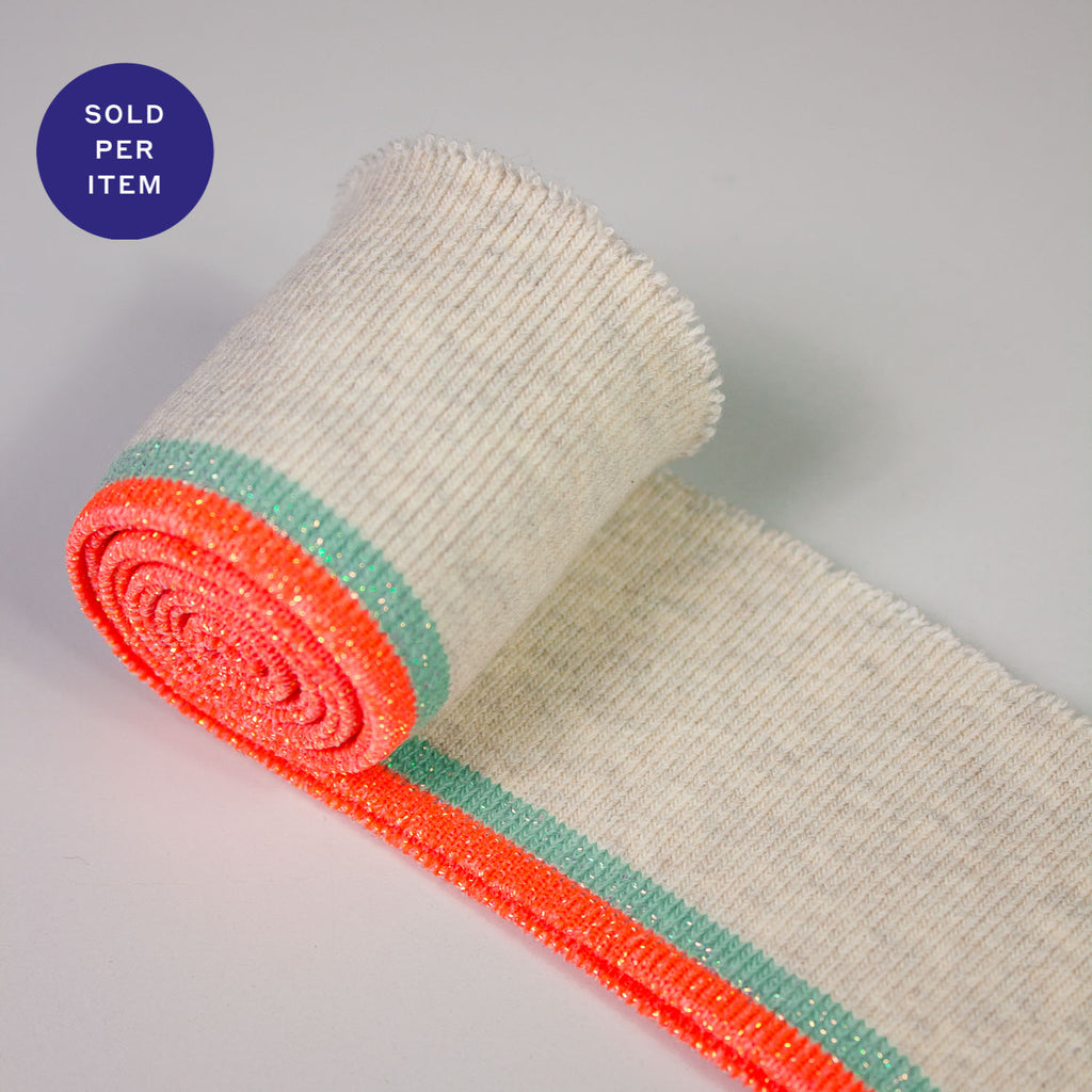 Molly Light Turquoise & Fluo Coral Organic Cotton Rib Knit Cuff