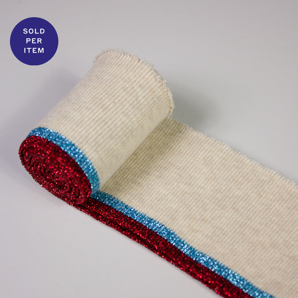 Alice Blue & Red Glitter Organic Cotton Rib Knit Cuff