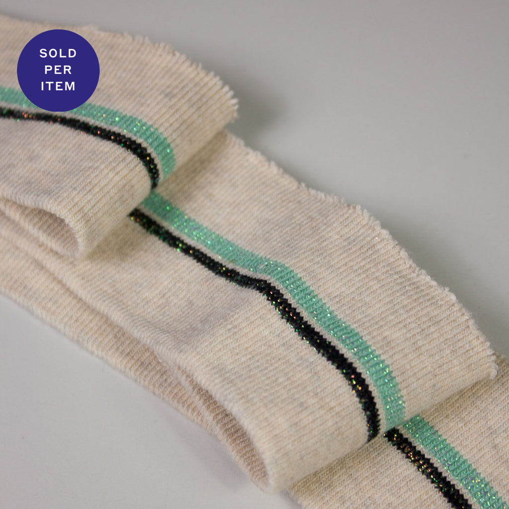 Charles Light Blue & Tinted Green Organic Cotton Rib Knit Cuff