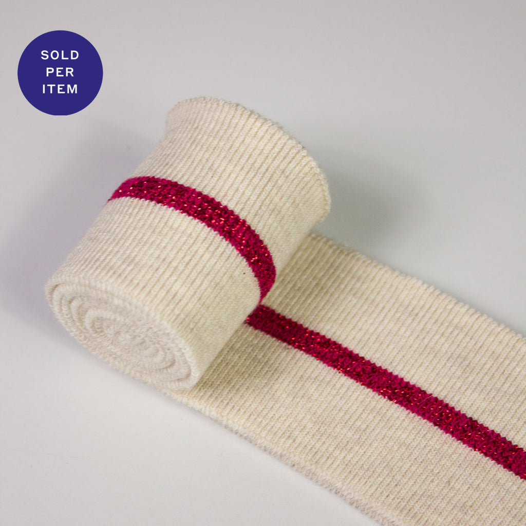 Joshua Red Glitter Organic Cotton Rib Knit Cuff