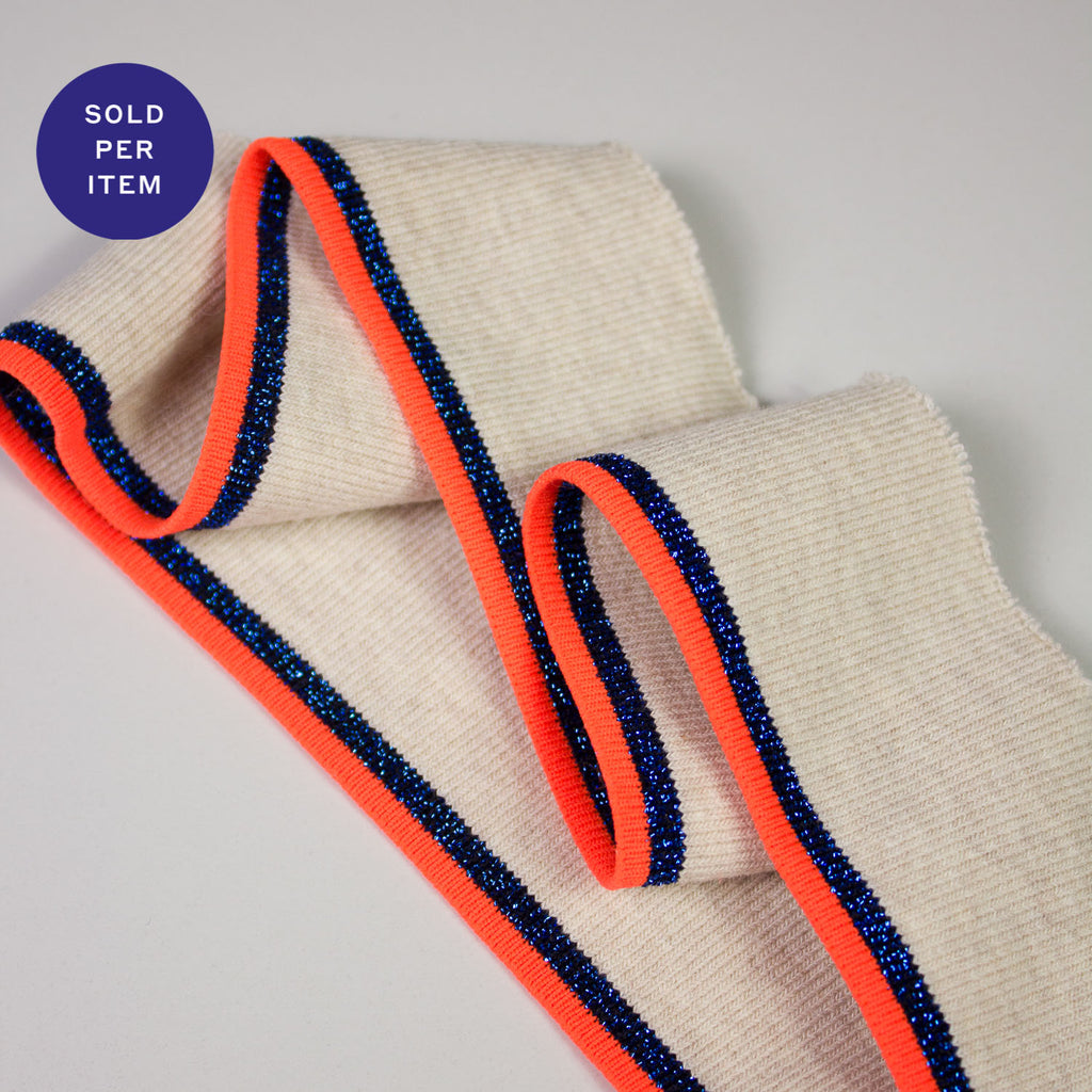 Vanessa Fluo Orange & Blue Glitter Organic Cotton Rib Knit Cuff