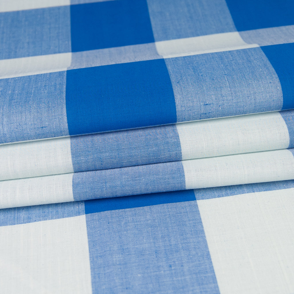 Azure Blue and Off-White Check Cotton