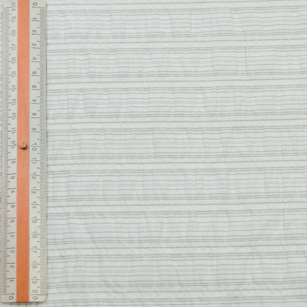 Russell White Beige Striped Cotton