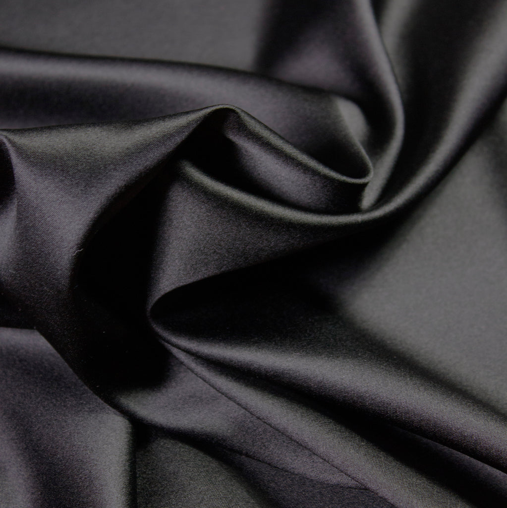 Black Glossy Haute Couture Stretch Silk