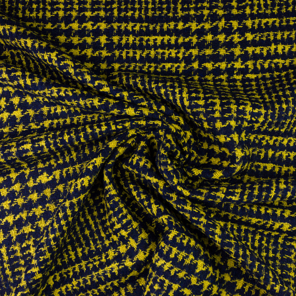 Hazel Navy&Yellow Houndstooth Wool