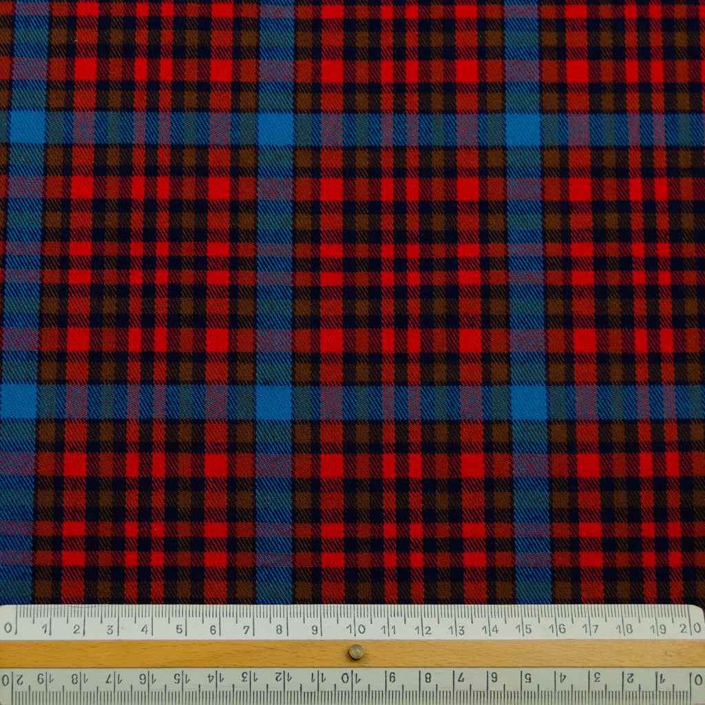 Tobby Orange Blue Tartan Polycotton