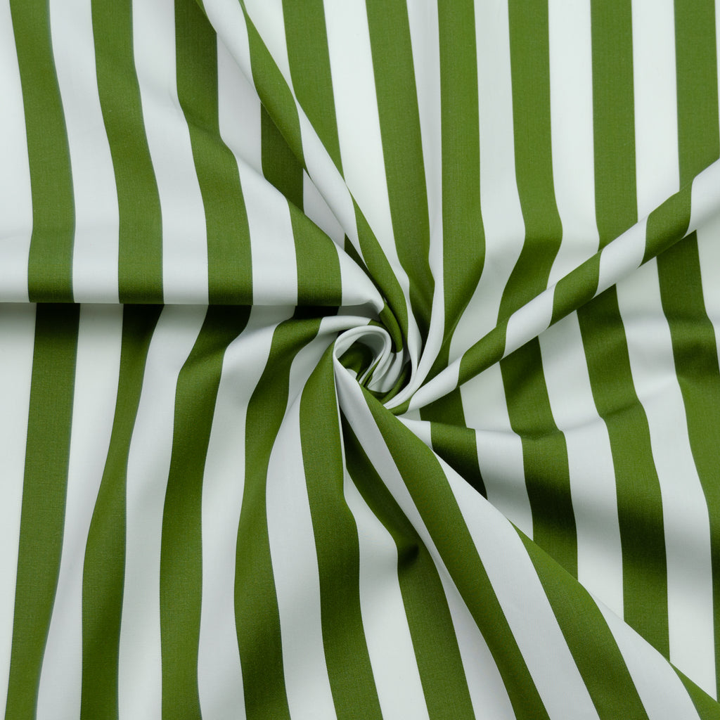 Shirley Green&White Striped Cotton