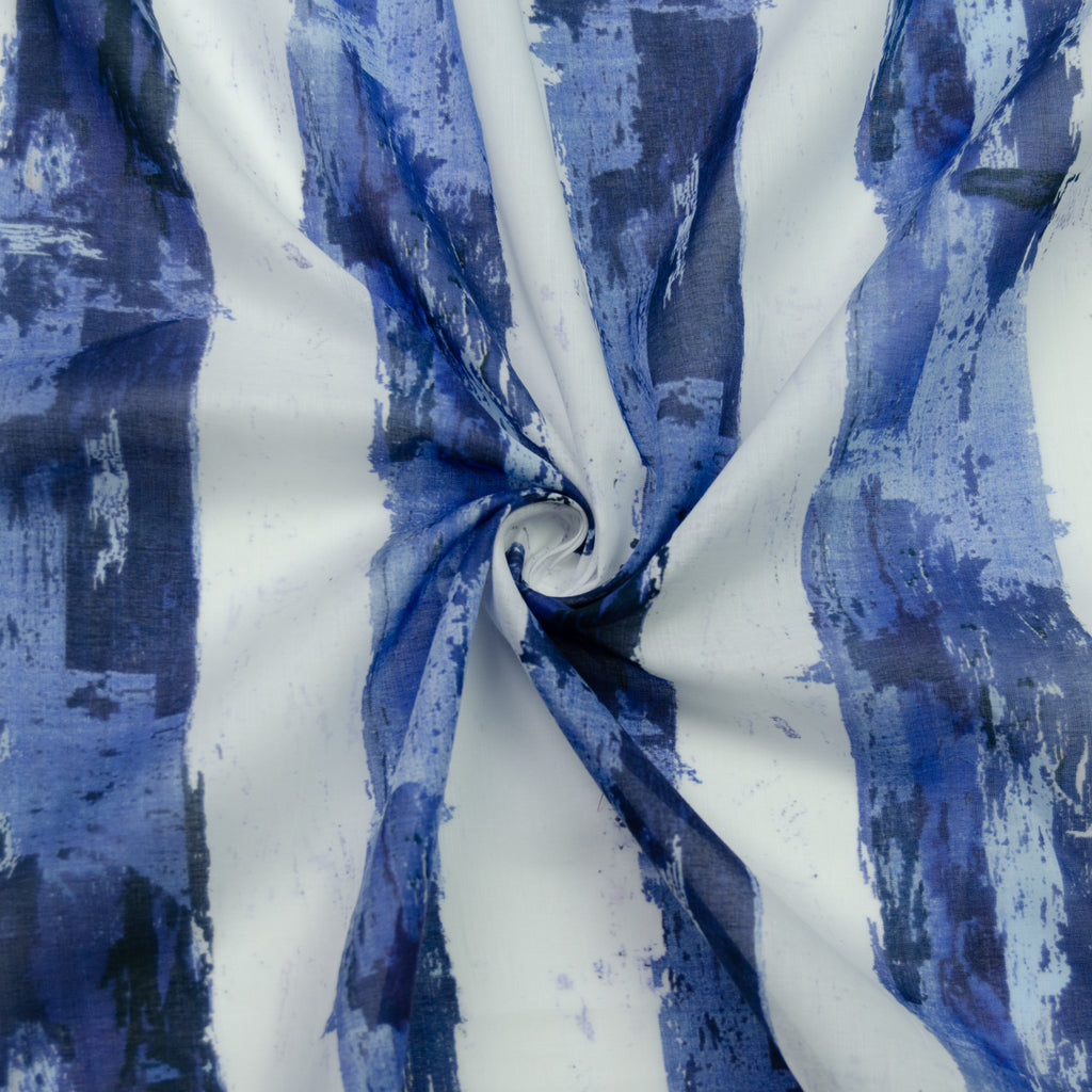 Triveni White Blue Printed Cotton