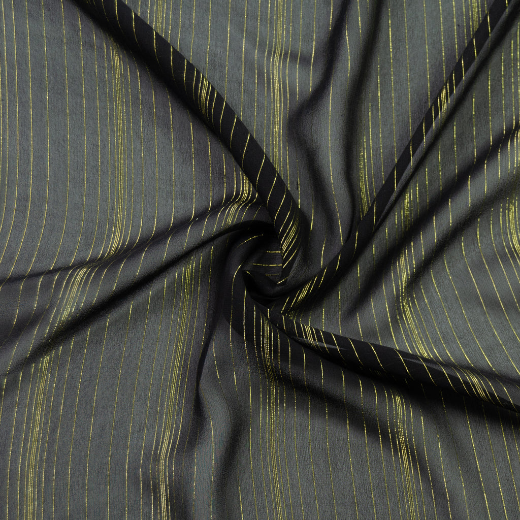 Telly Black & Gold Stripe Voile Silk
