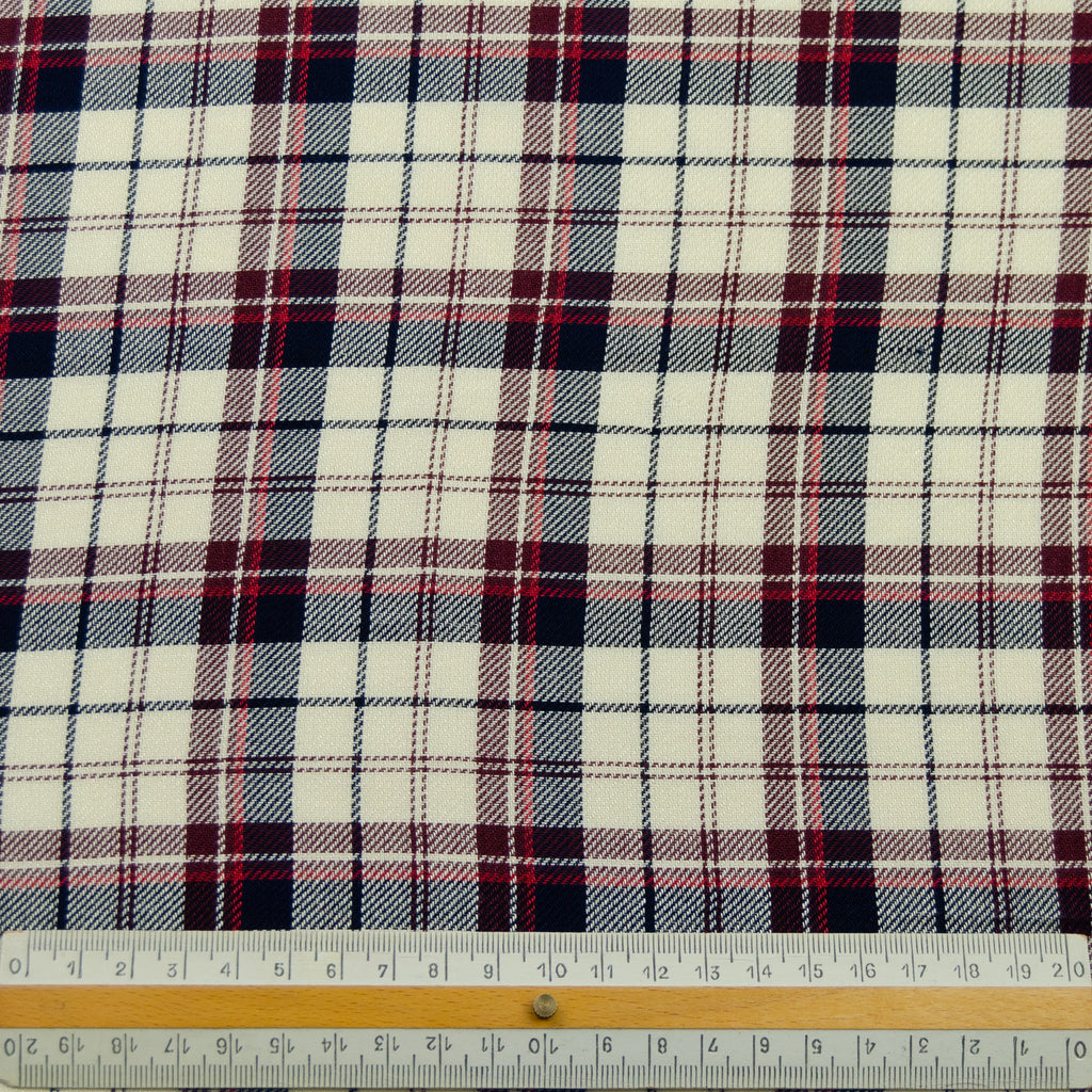James Blue Red Tartan Cotton Viscose