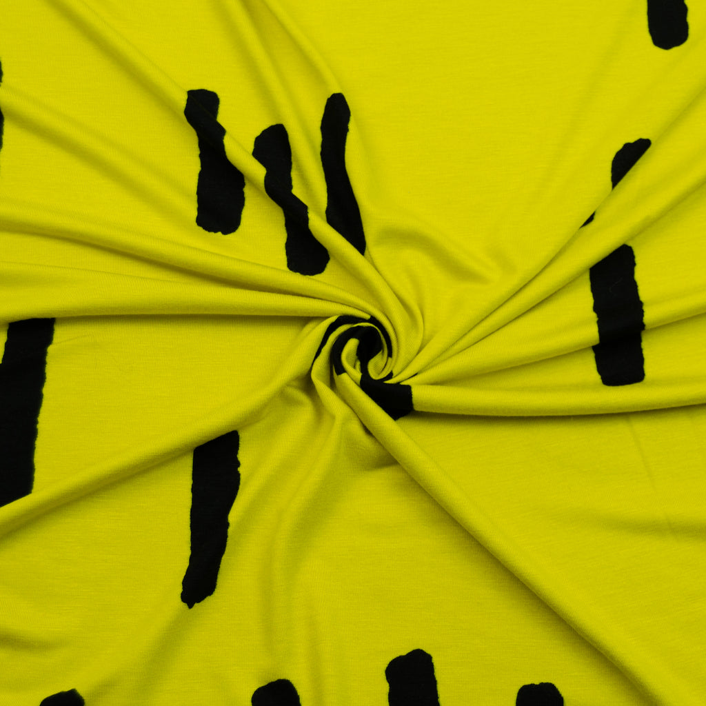 Riley Yellow Black Printed Cotton Jersey