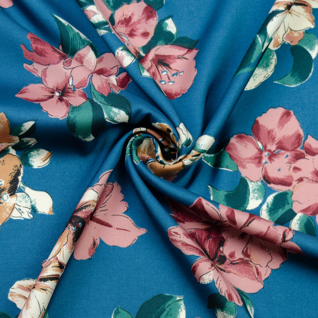 Totie Blue Floral Printed Polyester