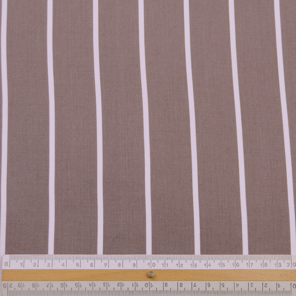 Trani Brown White Striped Tencel