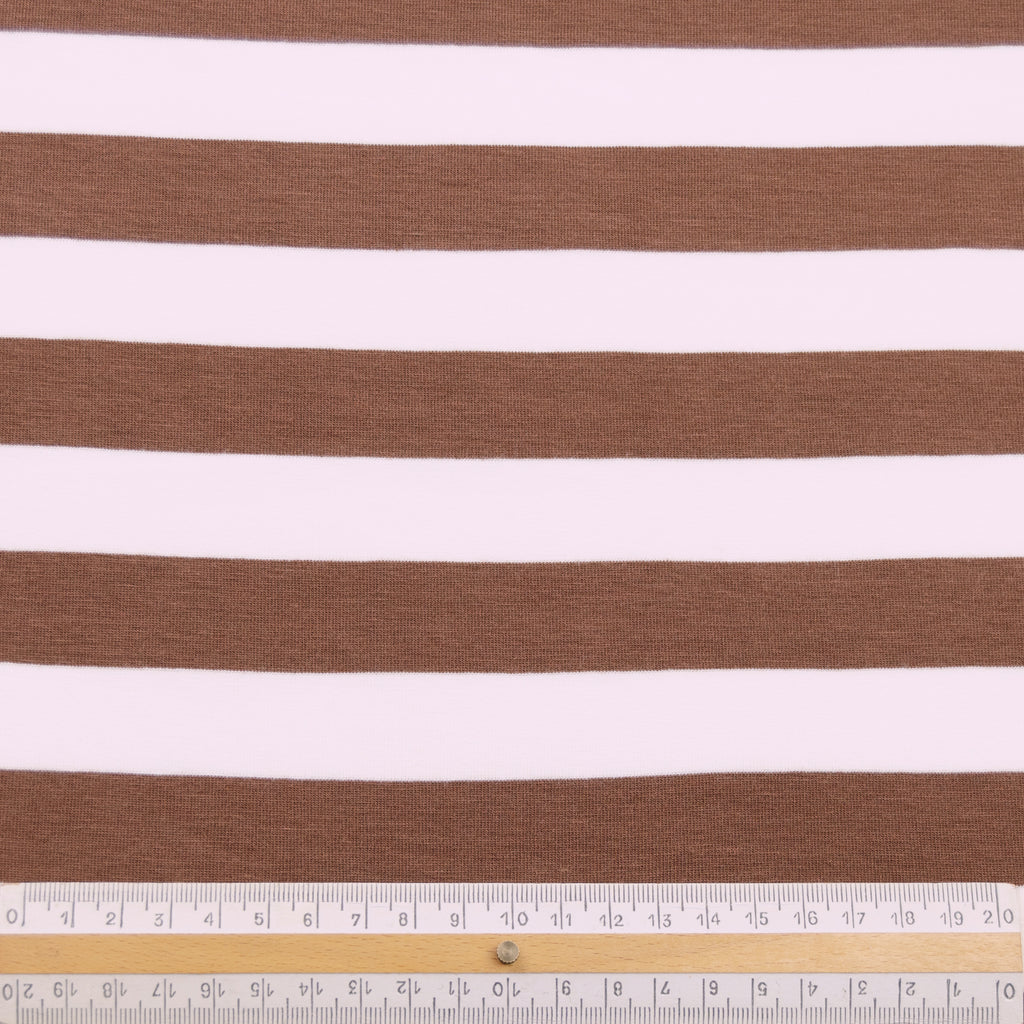 Termeric Brown&Off-white Striped Viscose Jersey