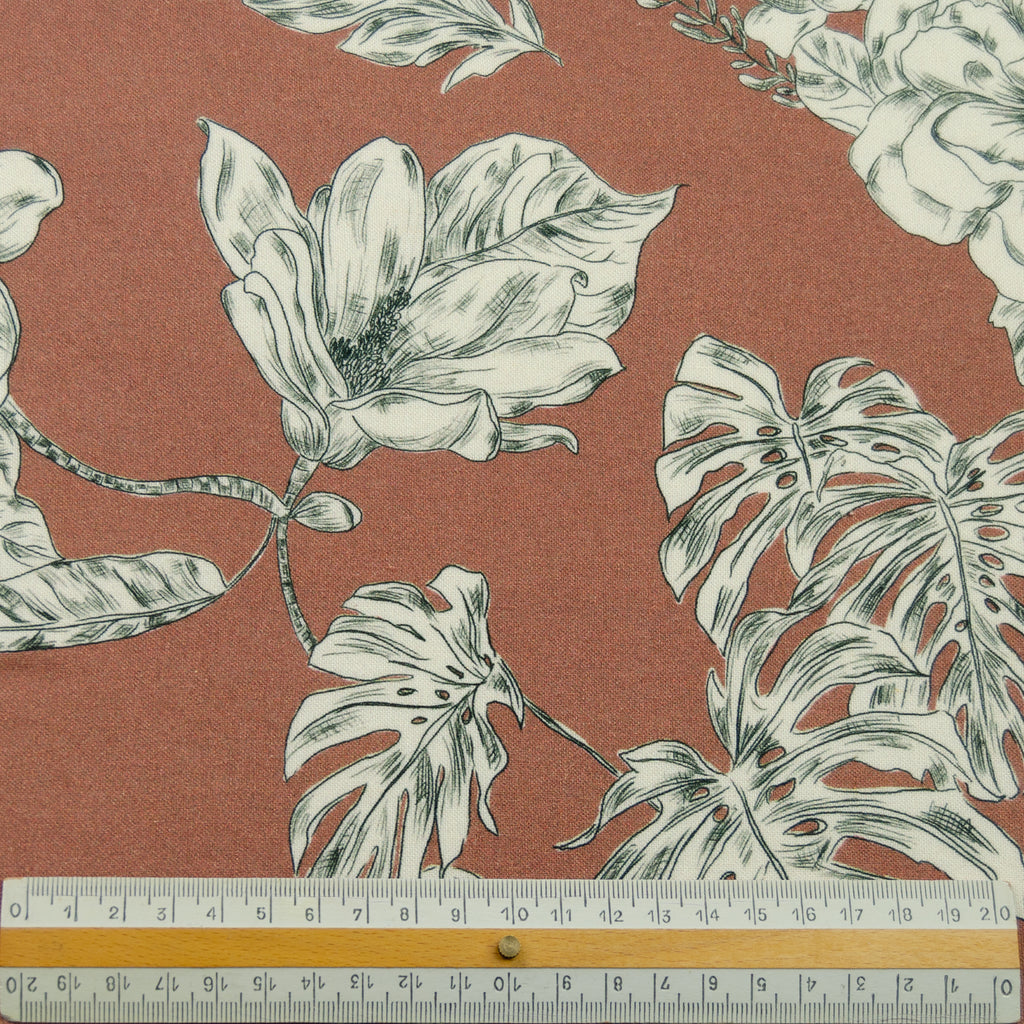 Sable Brown Floral Printed Viscose