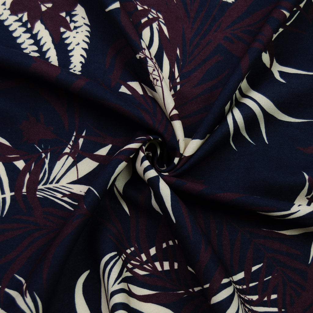 Sabina Blue Bordeaux Printed Linen Blend