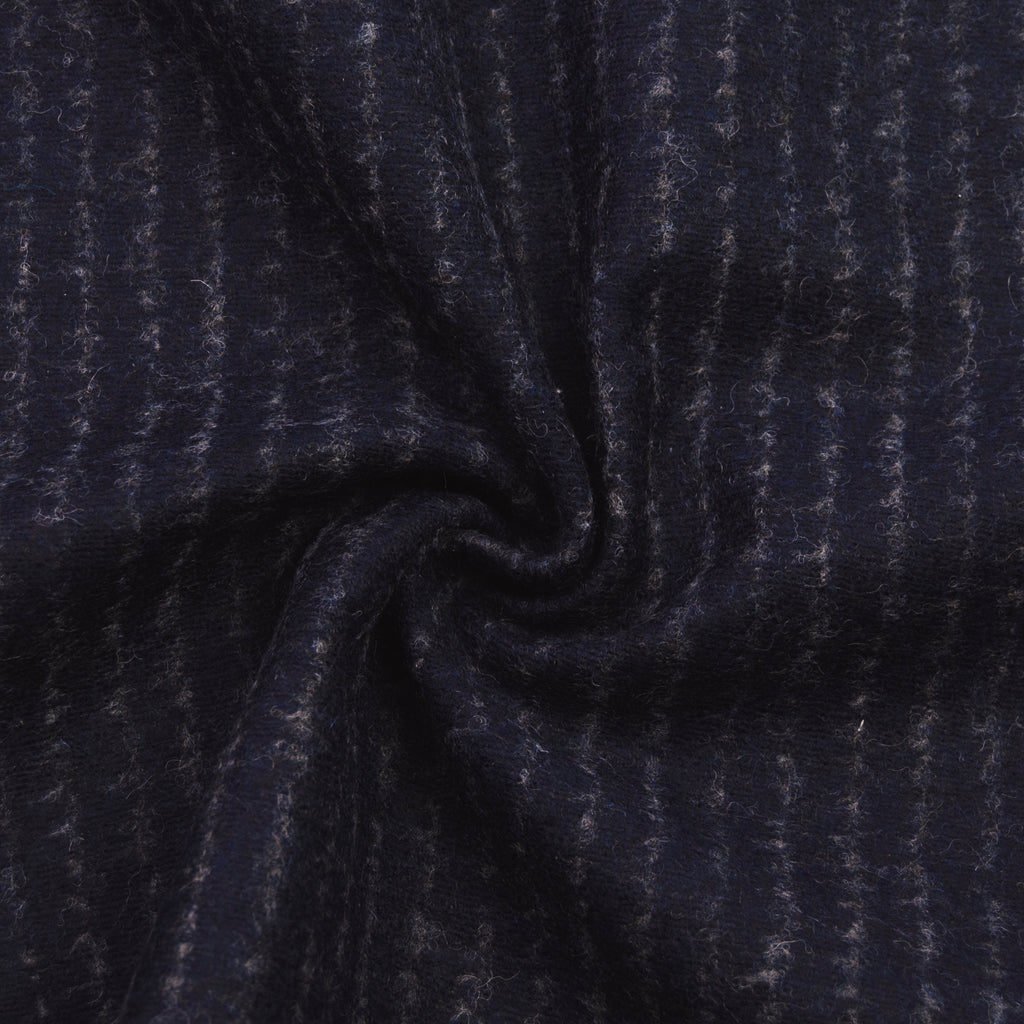 Jacey Navy Striped Wool Double Face