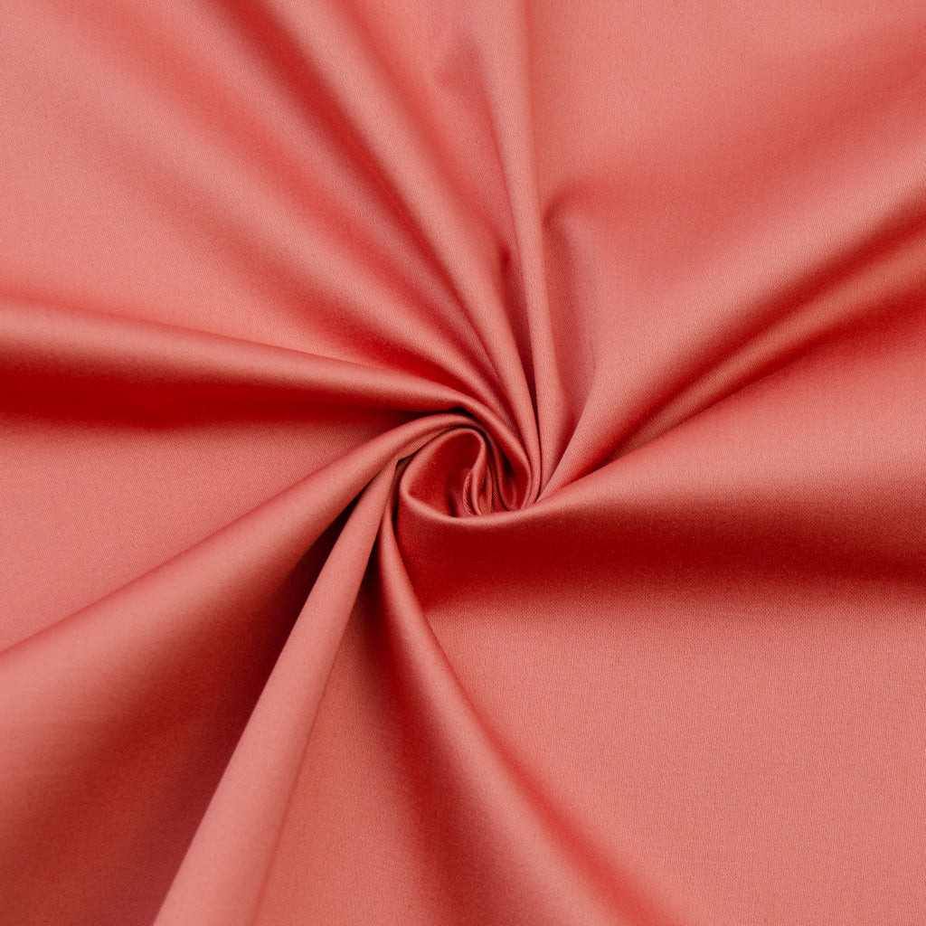 Emma Coral Pink Stretch Cotton Sateen