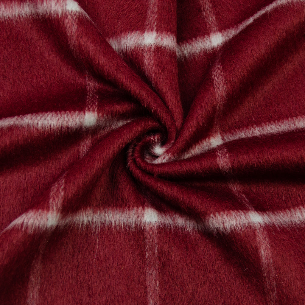 Trishna Burgundy White Furry Check Wool