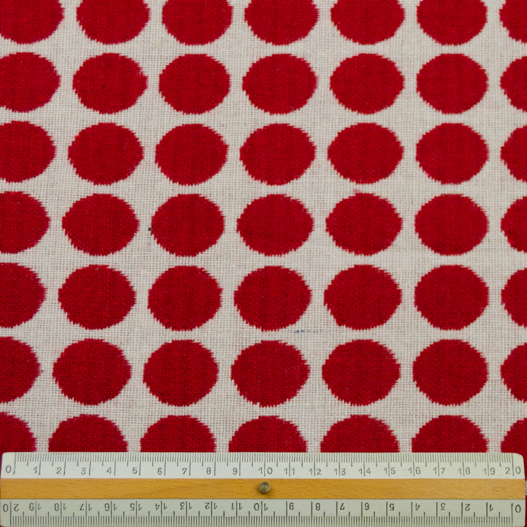 Topher Red & White Polka Dot Wool