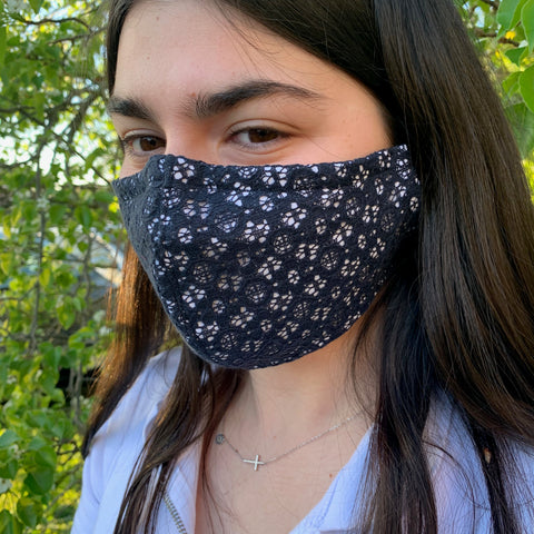 Navy Flower Lace Face Mask