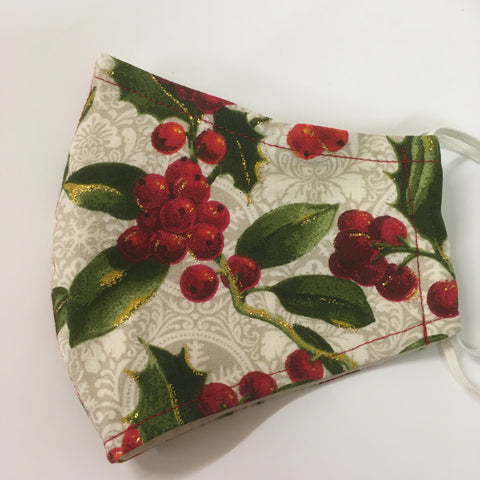 Christmas Large Holly Fabric Face Mask
