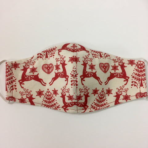 Christmas Reindeers Fabric Face Mask