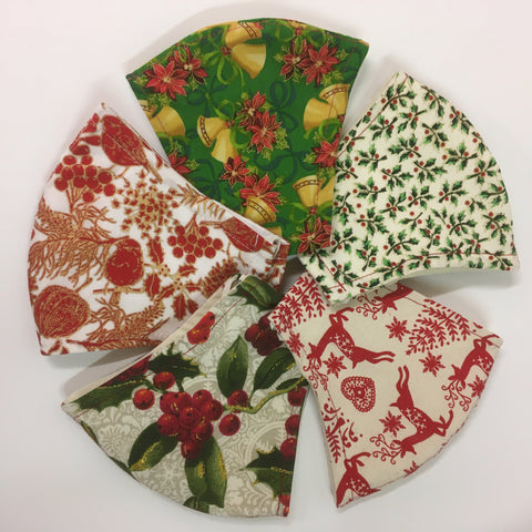 Christmas Fabric Face Mask Set of 5