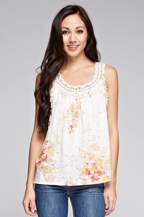 Floral and Crochet Lace Tank