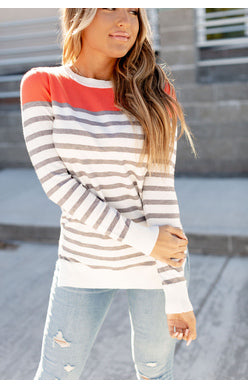 Graham Knit Sweater- Coral