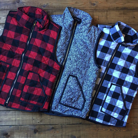 Buffalo Plaid Vests