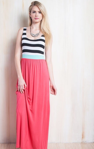 Coral Striped Maxi Dress