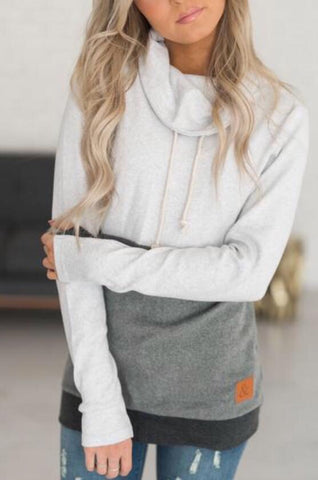 Color-Block Cowl Neck Sweatshirt