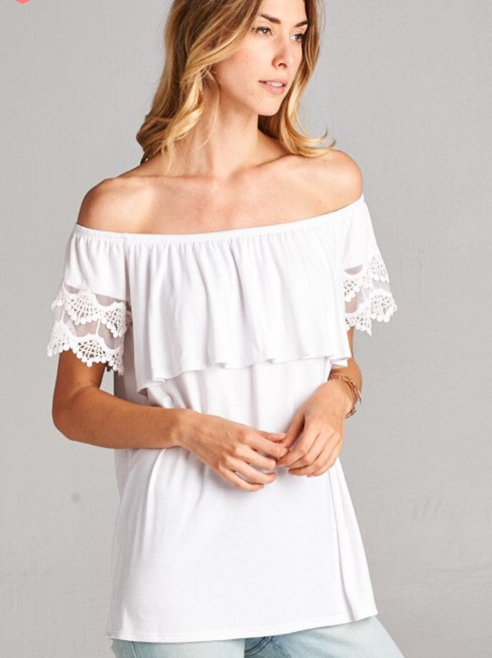 Romantic Off the Shoulder Top-black