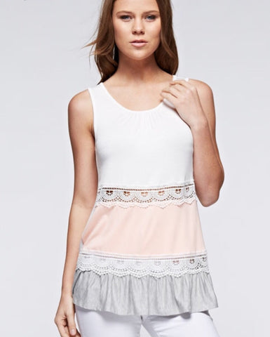 Color Block Lace Tank