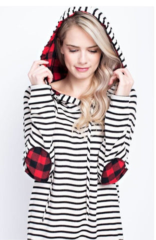 Buffalo Plaid + Stripes Hoodie