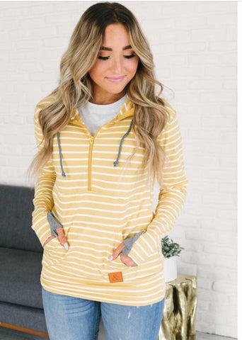 Ampersand Ave Yellow Stripe Half Zip
