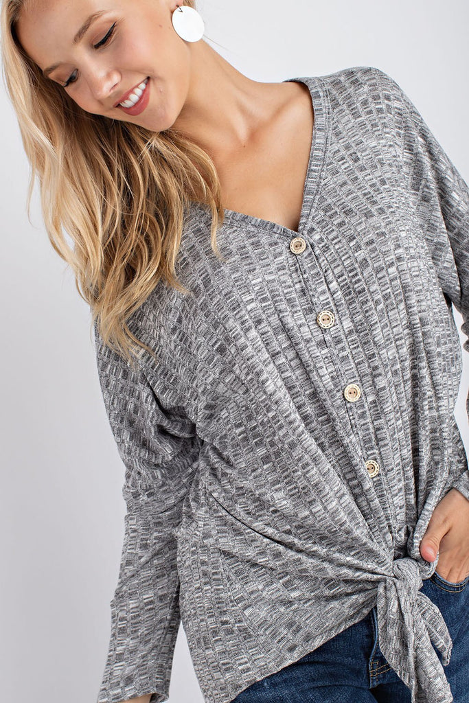 Tie Front Button Down Cardigan