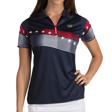 Ladies Trident Patriot Navy Blue Polo