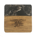 Trident Marble and Wood Coaster Set