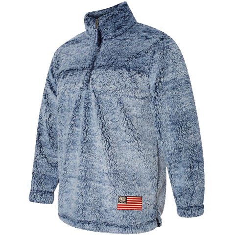 Trident American Flag - Frosted Navy Sherpa Quarter Zip Pullover
