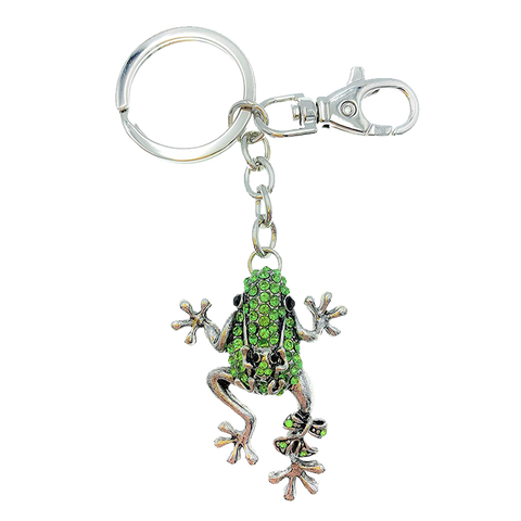 Bejeweled Enamel Frog Key Ring