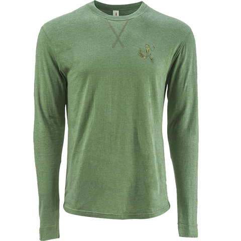 Olive Green Bone Frog Sueded Long Sleeve Tshirt