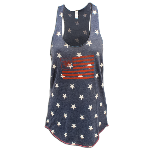 Ladies Racerback Stars Tank with American Flag - UDT-SEAL Store