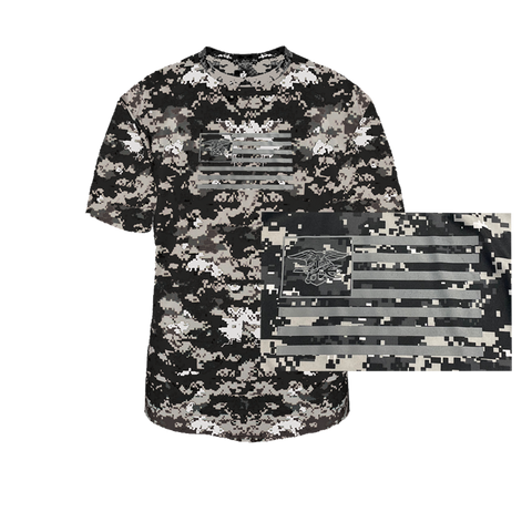 Trident in Flag Digital Camo Youth Performance Shirt