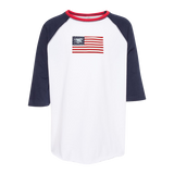 YOUTH American Flag with Trident Baseball Jersey Tee