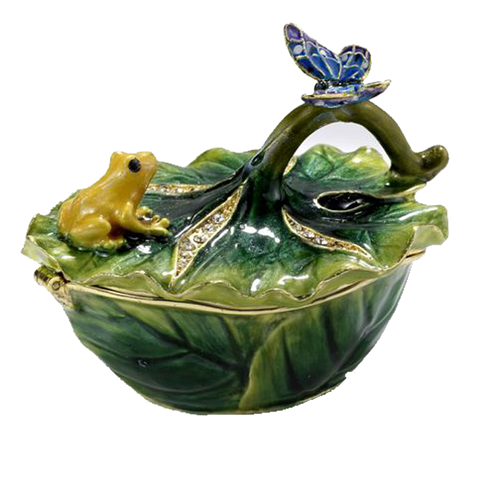 Frog Leaf Bejeweled Box