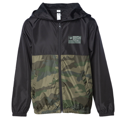 Youth Camo Trident Flag Windbreaker Jacket