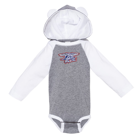 Rabbit Skins Infant Trident Long Sleeve Onesie with Ears